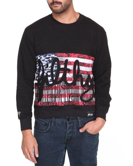 Filthy Dripped - Men Black Filthy Flag Crew Sweater - $26.99