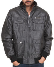 Men - Faux Leather Shoulder quilting Jacket