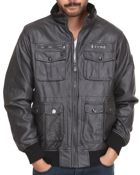 Coogi - Men Grey Faux Leather Shoulder Quilting Jacket