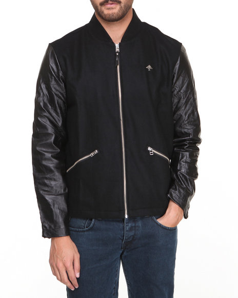 Lrg - Men Black 47 Legacy Leather / Wool Jacket