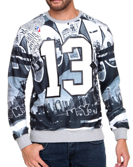 Post Game - Men Grey Brooklyn Sublimated Crewneck Sweatshirt
