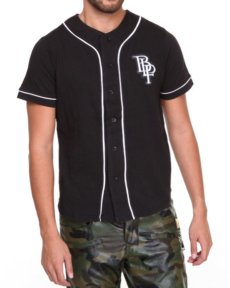 Blac Label - Men Black B L P Baseball Jersey Button-Down