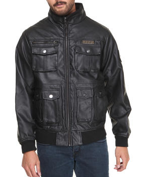 COOGI - Faux Leather Shoulder quilting Jacket