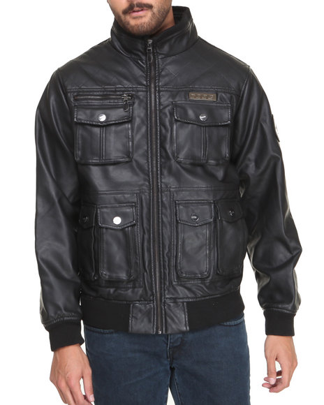 Coogi - Men Black Faux Leather Shoulder Quilting Jacket