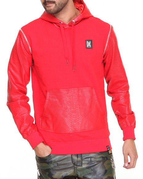 Forte' Red Python Faux Leather Sleeve Hoodie
