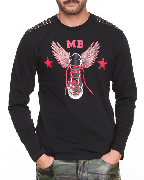 Pelle Pelle By Marc Buchanan - Men Black Mb Studded Bullet Shoe Tee - $23.99