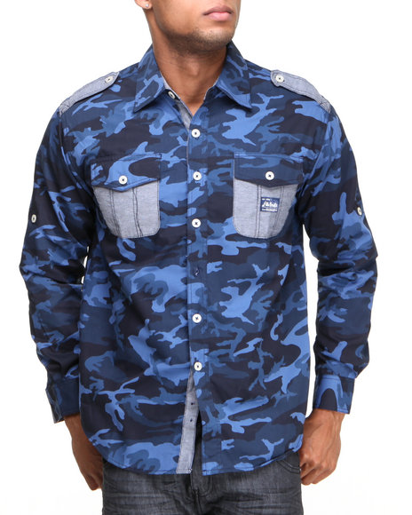 Akademiks Navy Alpha All Over Camo Roll Up Botton Down Shirt