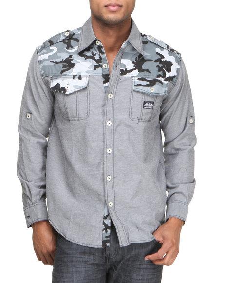 Akademiks - Men Black Charlie Camo Detail L/S Button Down Shirt