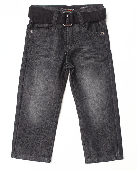 Akademiks - Boys Black Belted Rolodex Jeans (2T-4T)