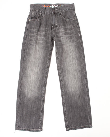Akademiks - Boys Grey Signature Fanback Jeans (8-20)