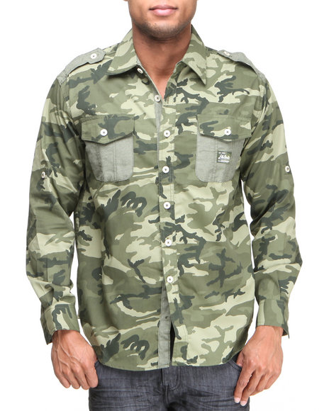 Akademiks - Men Olive Alpha All Over Camo Roll Up Botton Down Shirt - $15.99