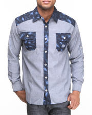Akademiks - Omar Leopard Print Chambray Button Down Shirt (B&T)