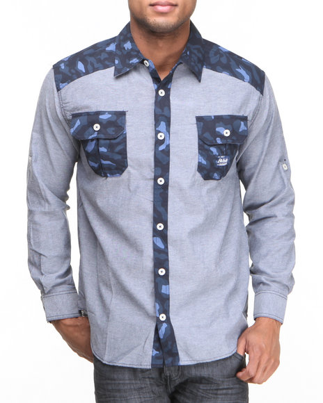 Akademiks Navy Omar Leopard Print Chambray Button Down Shirt (Big & Tall)