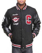 COOGI - Coogi Wool Varsity Jacket w/ PU Sleeves