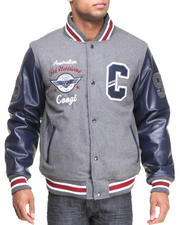 Outerwear - Coogi Wool Varsity Jacket w/ PU Sleeves