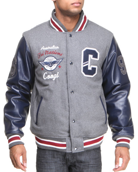 COOGI Grey Coogi Wool Varsity Jacket W/ Pu Sleeves