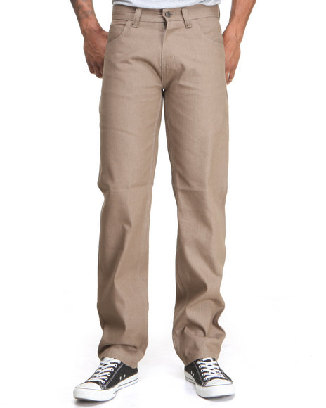 Basic Essentials Khaki Colored Raw Denim Jeans