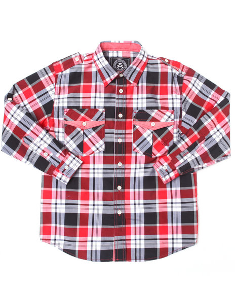 Akademiks Boys Red Roll-Up Sleeve Plaid Woven (8-20)