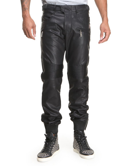 Forte' - Men Black Faux Leather Motorcycle Pants