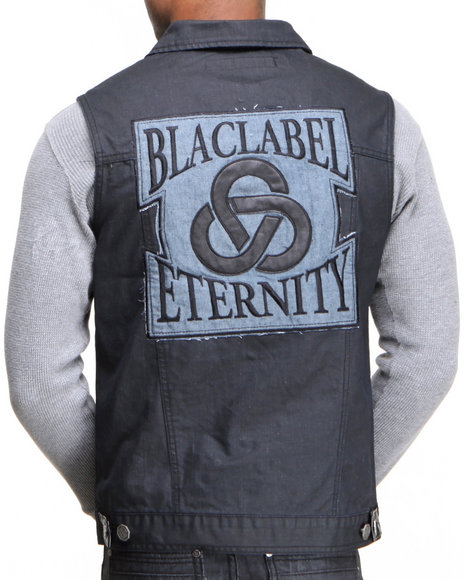 Blac Label - Men Black B L P - P U  - Trimmed Denim Vest