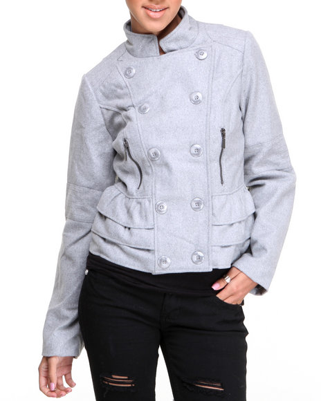 Basic Essentials - Women Grey Kimmy Wool Short Coat W/Ruffle Detail - $27.99