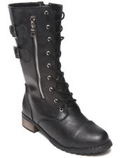 Fashion Lab - Paulita Combat Boot W/buckle detail