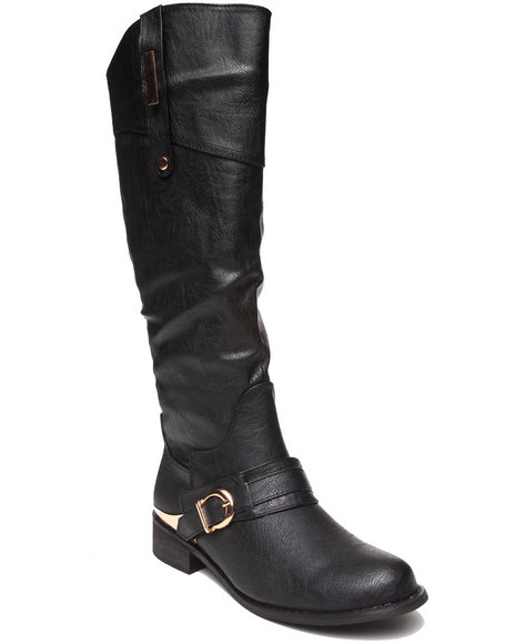 Fashion Lab - Women Black Pagani Riding Boot W/Metal Detail