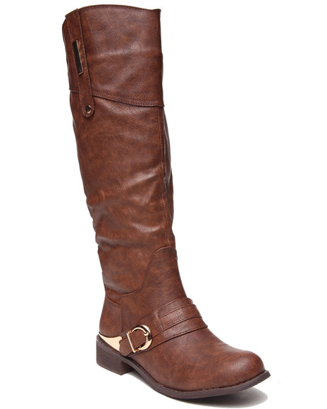 Fashion Lab - Women Brown Pagani Riding Boot W/Metal Detail