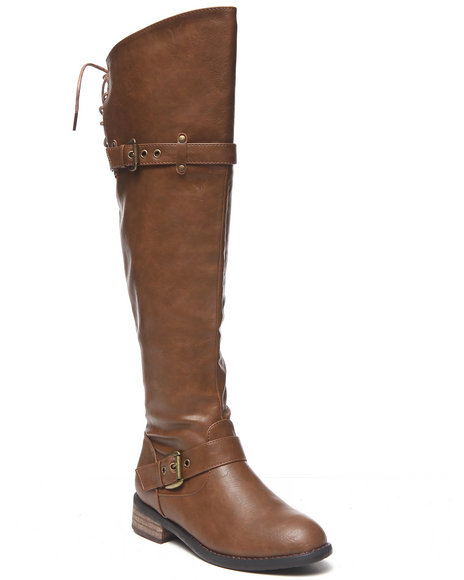 Fashion Lab - Women Tan Margery Over The Knee Boot W/Laceup Back Detail Under Knee
