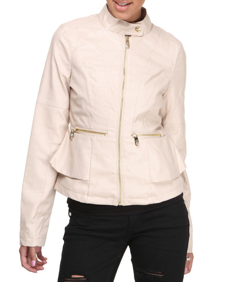 Steve Madden - Women Cream Stephanie Lightweight Vegan Leather Peplum Jacket
