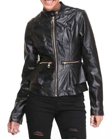 Steve Madden - Women Black Stephanie Lightweight Vegan Leather Peplum Jacket