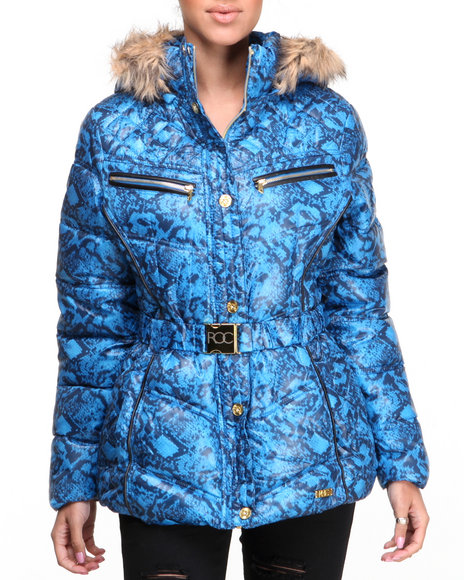 Rocawear - Women Blue Sporty Belted Snake Print Puffer Jacket - $55.99