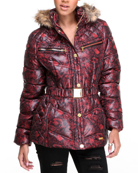 Rocawear Red Sporty Belted Snake Print Puffer Jacket