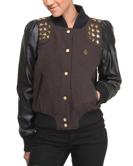 Rocawear Brown Super Star Trimmed Varsity Jacket