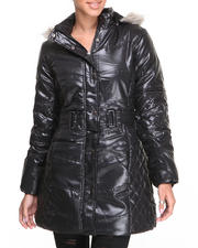 Outerwear - Cire Bubble Coat w/faux fur hood trim quilted detail belt
