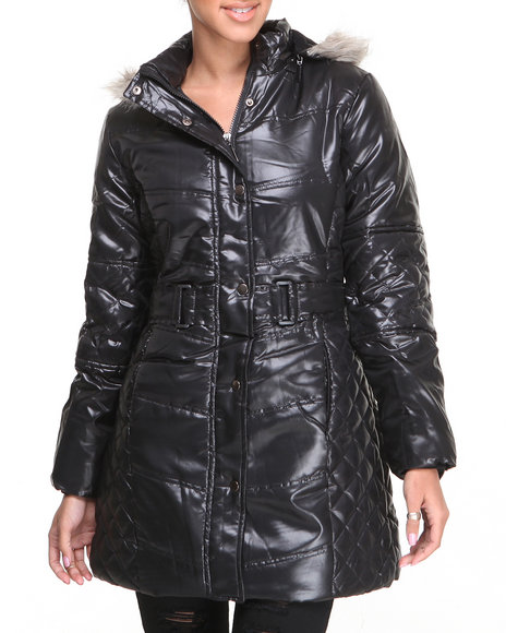 Basic Essentials - Women Black Cire Bubble Coat W/Faux Fur Hood Trim Quilted Detail Belt