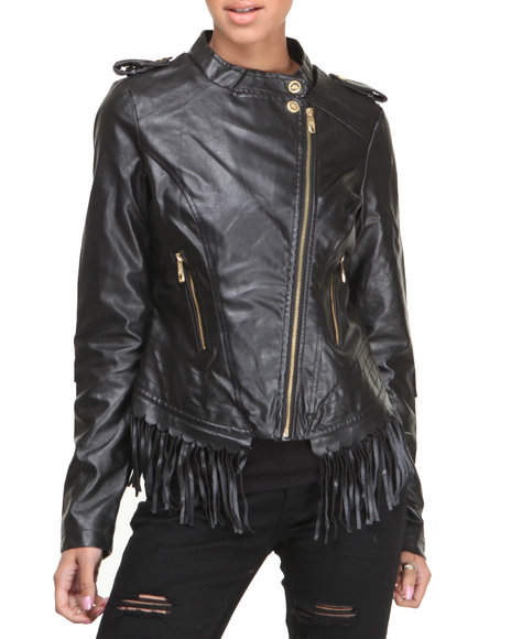 Steve Madden - Women Black Lauren Lightweight Vegan Leather Jacket W/Fringe