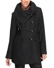 Women - Metallic Tweed Shawl Collar Wool Coat