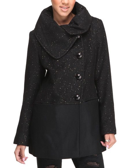 Kensie - Women Black,Gold Metallic Tweed Shawl Collar Wool Coat
