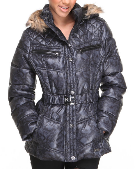 Rocawear Black Sporty Belted Snake Print Puffer Jacket