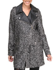 Steve Madden - Olga Heavy Oversized Tweed Coat W/Vegan Leather Trims