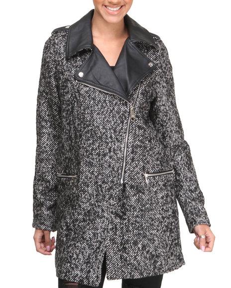 Steve Madden Black Olga Heavy Oversized Tweed Coat W/Vegan Leather Trims