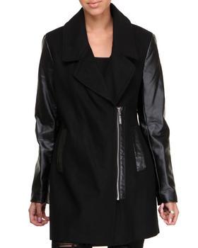 KENSIE - Vegan Leather Sleeves Boyfriend Zip-up Wool Coat