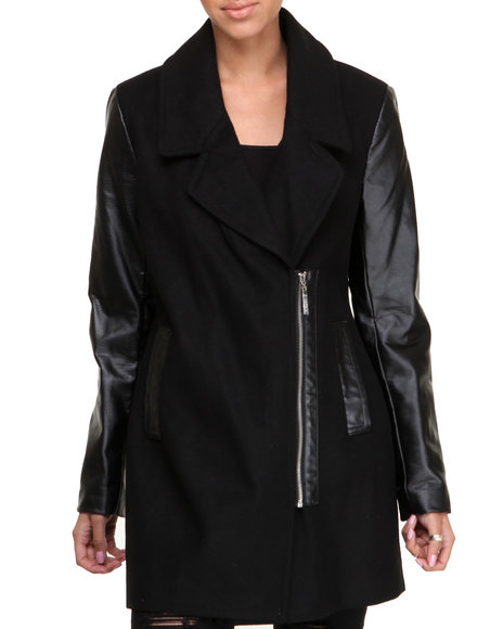 KENSIE - Vegan Leather Sleeves Boyfriend Zip-up Wool Coat