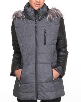 KENSIE - Colorblock Dual Fabric Faux Fur Hood Coat