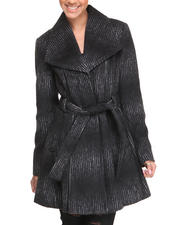 Heavy Coats - Ombre Stripe Belted Wool Coat