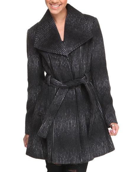 KENSIE Black Ombre Stripe Belted Wool Coat