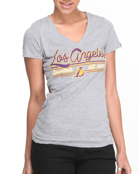 NBA MLB NFL Gear Charcoal V-Neck Lakers Tee