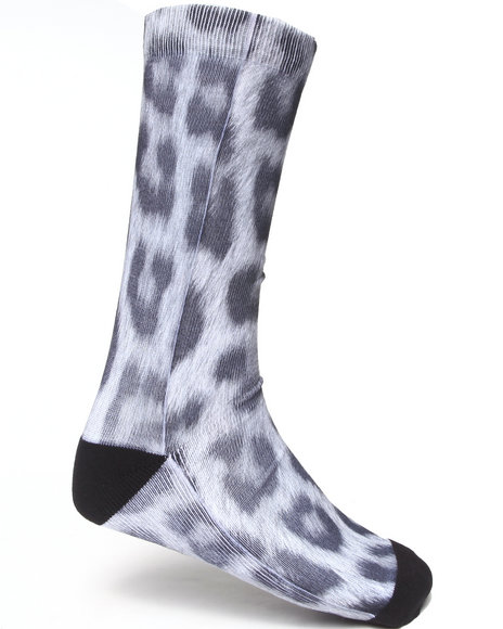 Buyers Picks Men Snow Leopard Sublimation Socks Multi - $10.99