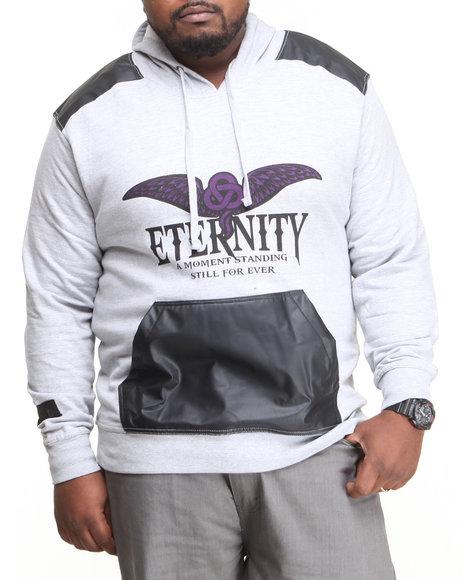 Blac Label Grey Eternity P U Trimmed Hoodie (Big & Tall)